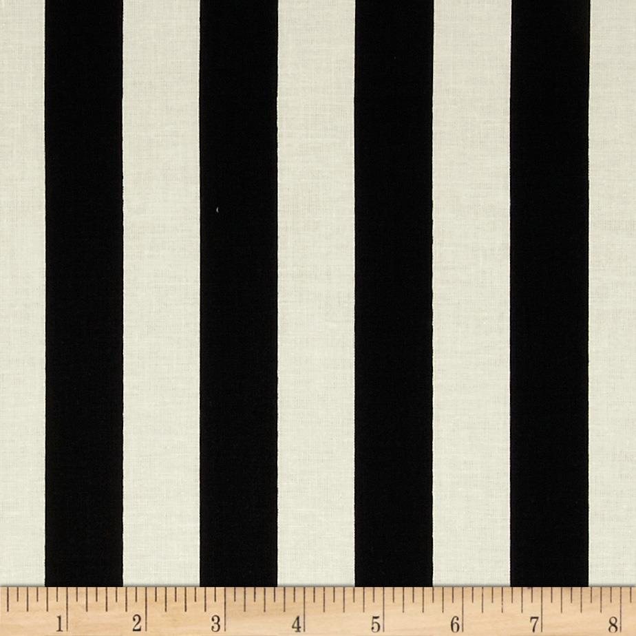 "Riley Blake Le Creme Basics Medium 1"" Stripe Black/Cream"