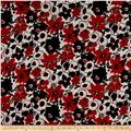 Floral Dobby Crepe Print Black/Red