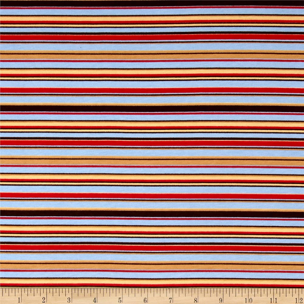 Transportation Cotton Spandex Knit Multi Stripe