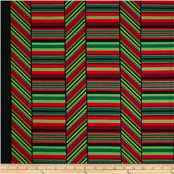 Kanvas Deck the Halls Metallic Peppermint Stripe Red/Green/Black