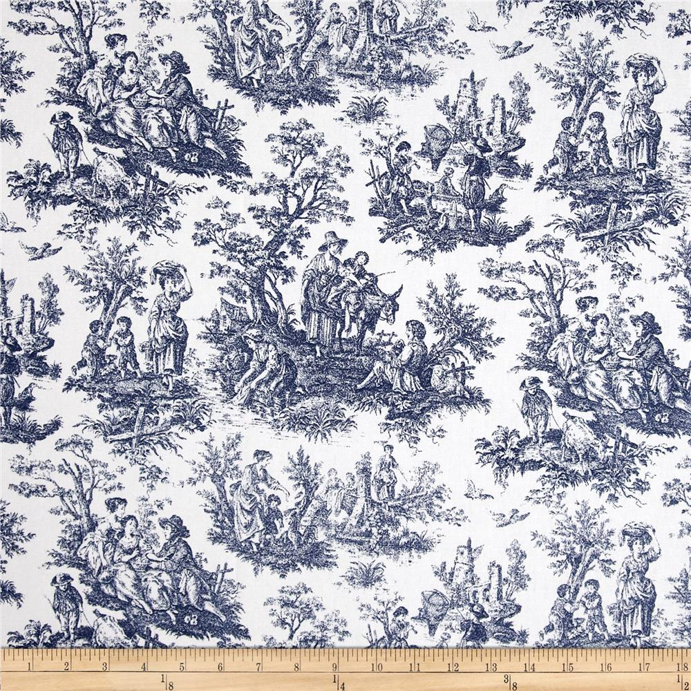 Waverly Rustic Life Toile Navy - Discount Designer Fabric - Fabric.com