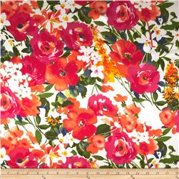 Charmeuse Satin Watercolor Flowers Orange/Pink Fabric