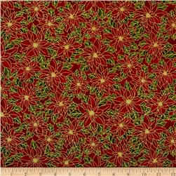 Nutcracker Christmas Metallic Poinsettia Red Fabric