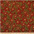 Nutcracker Christmas Metallic Poinsettia Red