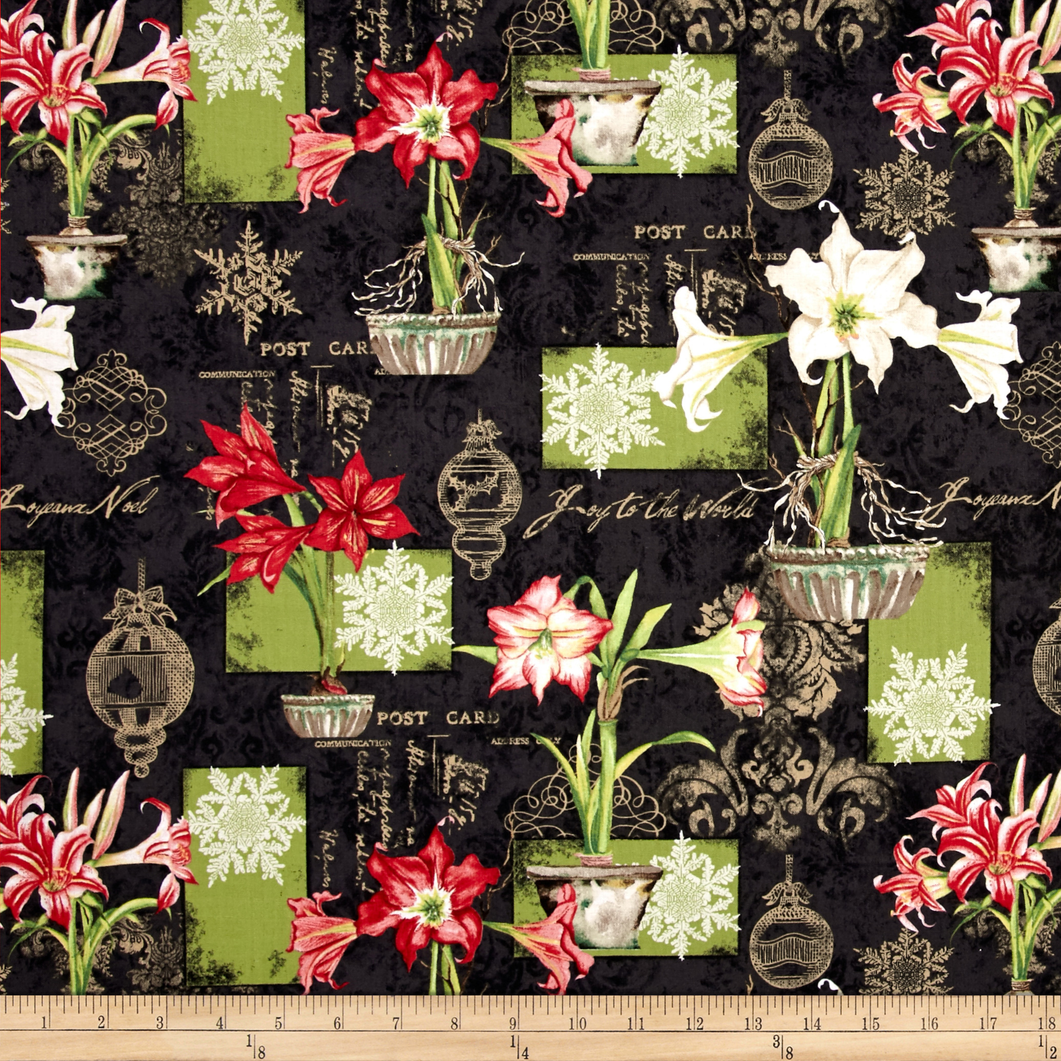 Christmas In Bloom Large Allover Black Fabric by MM Fab in USA