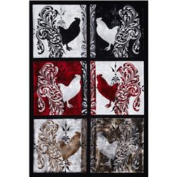 Bonjour Roosters Patch 24 In. Panel Black