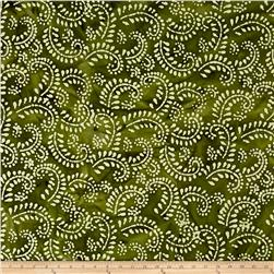 Indian Batik Hollow Ridge Scroll Vine  Olive/Natural