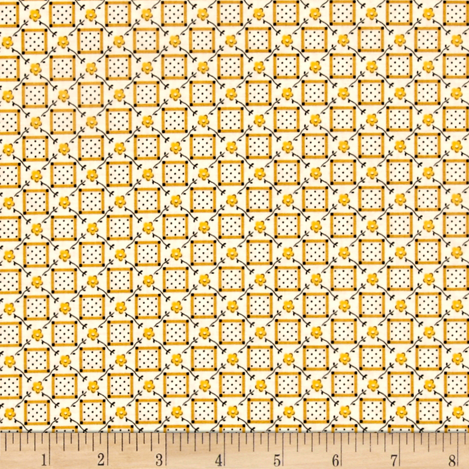 Aunt Grace Check Flower Yellow Fabric by Marcus in USA