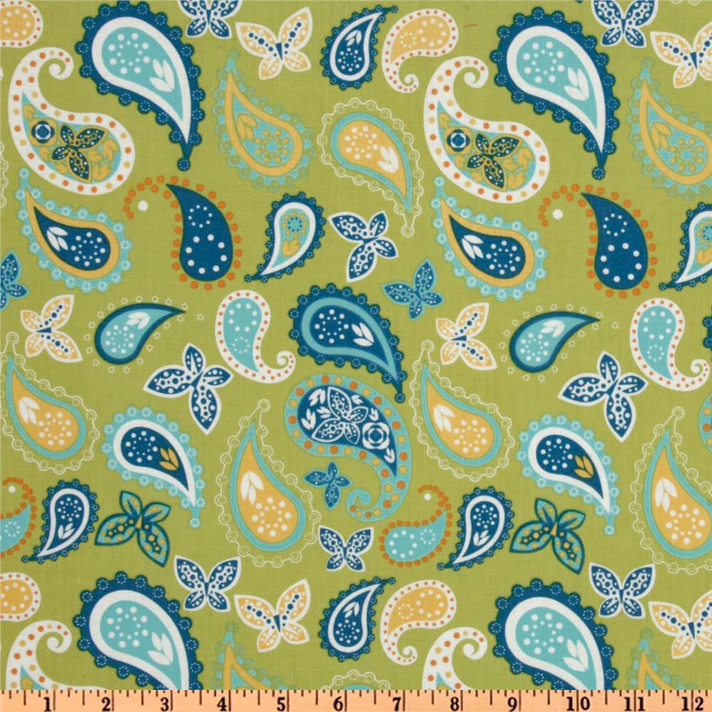 Imperial Pheasant Paisley and Butterflies Lime