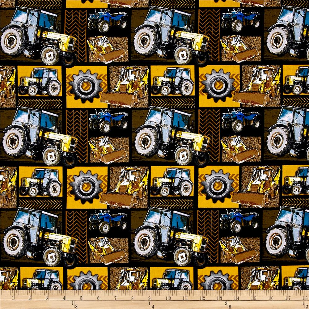 Construction Zone Machinery Patchwork Yellow/Black