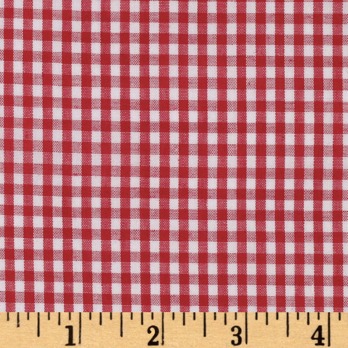 Woven 1/8'' Gingham Red Fabric