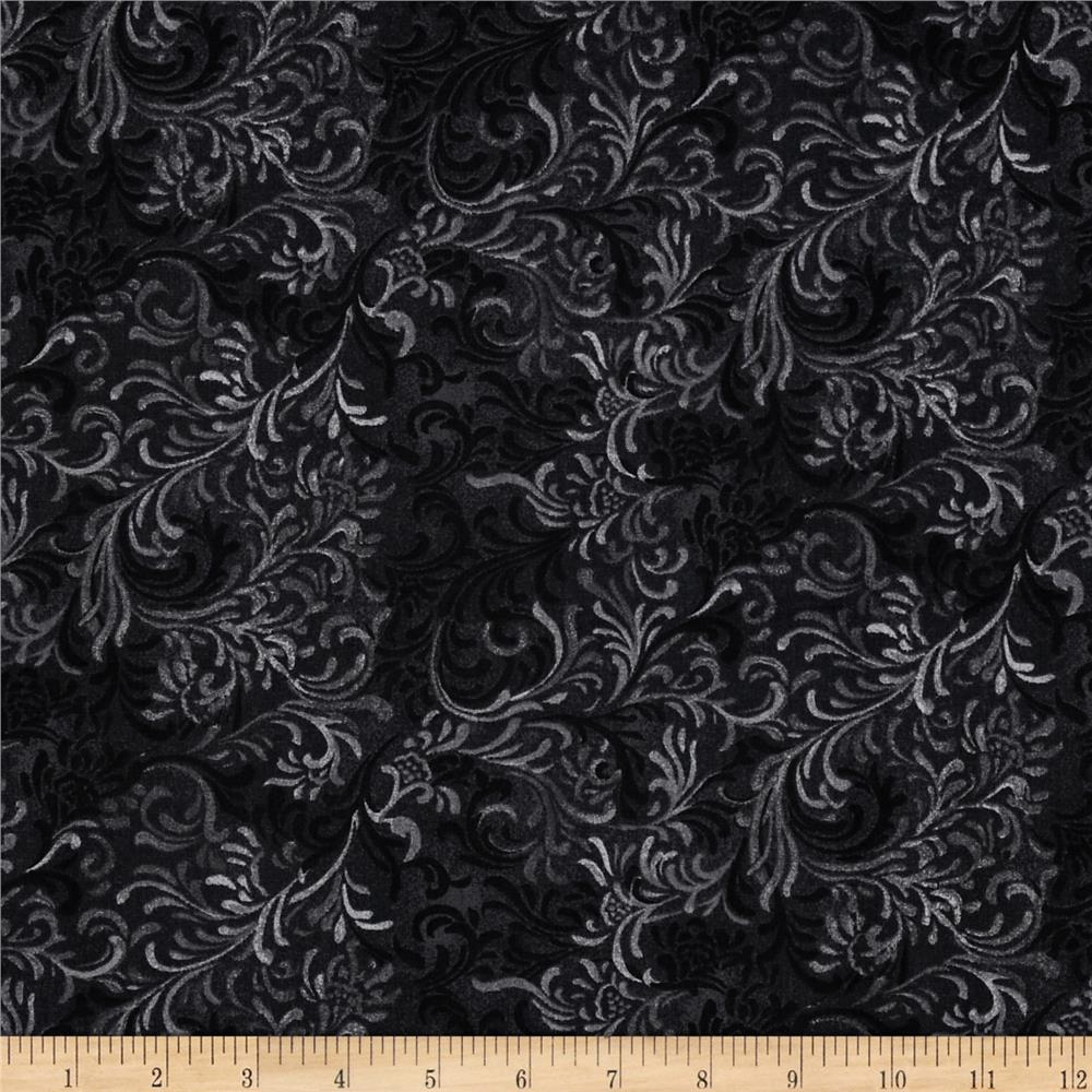 "108"" Essentials Wide Quilt Back Flourish Black"