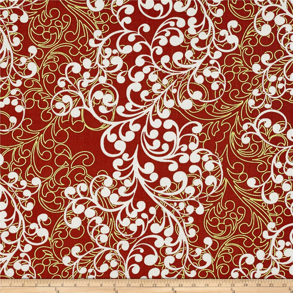 Christmas Spectacular Metallic Winter Scroll Red White