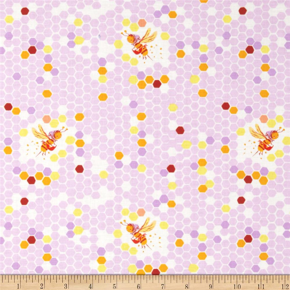 Heather Ross Briar Rose Hex Bee Lilac/White
