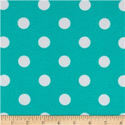 Liverpool Double Knit Print Dots Mint Ground/White