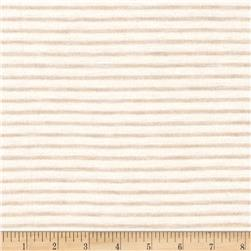 Jersey Knit Mini Beige Stripes on Ivory