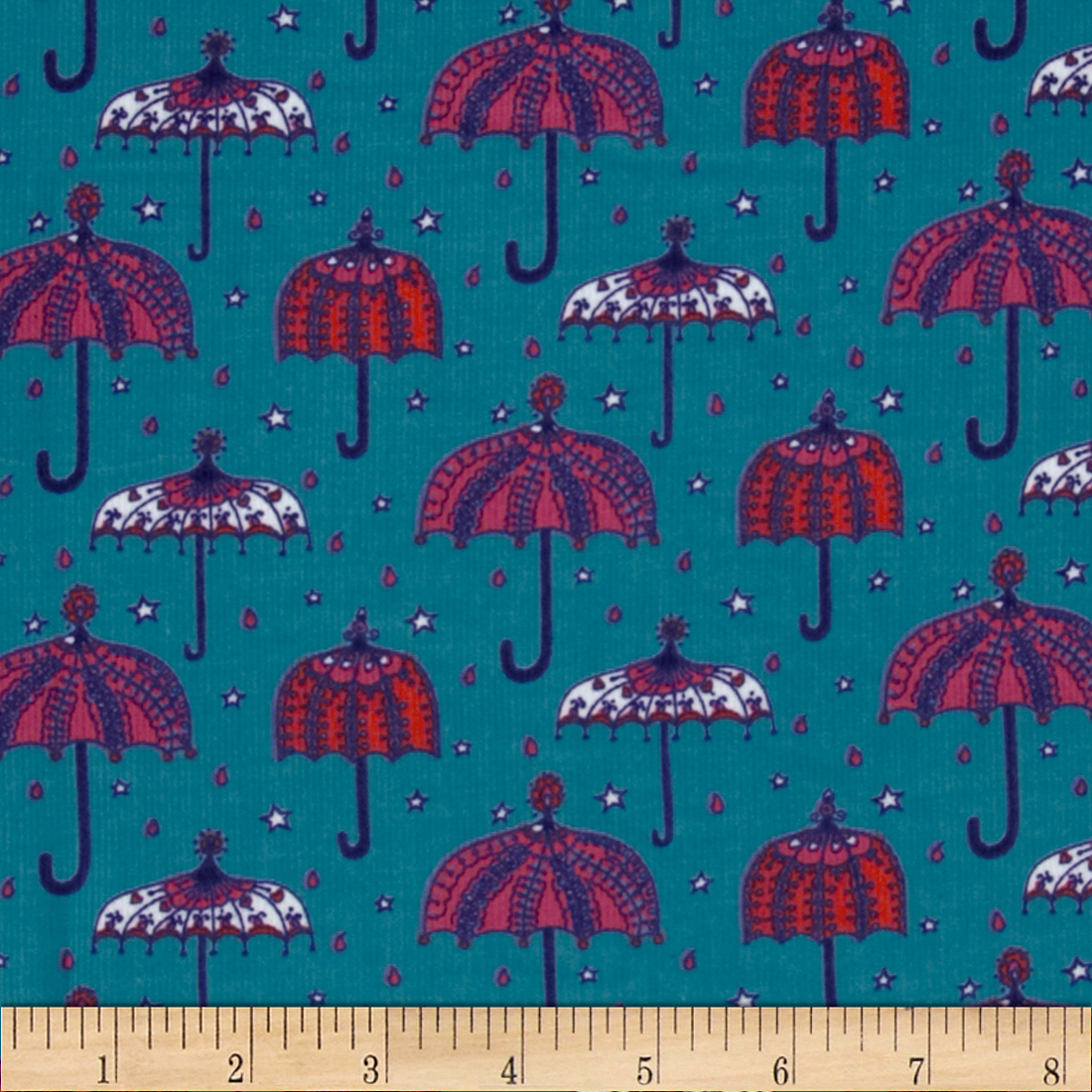 Kaufman 21 Wale Cool Cords Umbrellas Turquoise Fabric