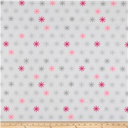 Polar Fleece Snowflakes Grey/Pink