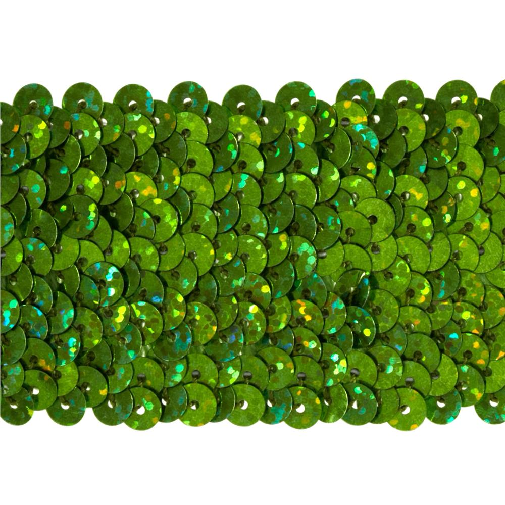 "1 3/4"" Hologram Stretch Sequin Trim Lime"