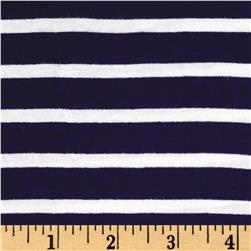 Rayon Spandex 1/2 X 1/4 Yarn Dyed Stripes Jersey Knit Navy/Ivory