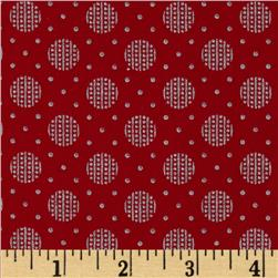 Pearle Silver Opalescent Big Dot Red Fabric