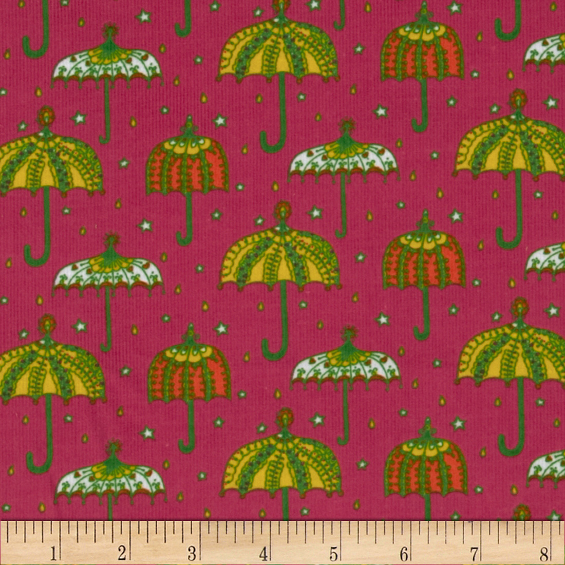 Kaufman 21 wale cool cords umbrellas hot pink for Children s corduroy fabric