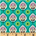 Michael Miller Norwegian Woods Leaves Forest Teal/Multi