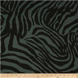 Cotton Poly Jersey Knit Zebra Charcoal