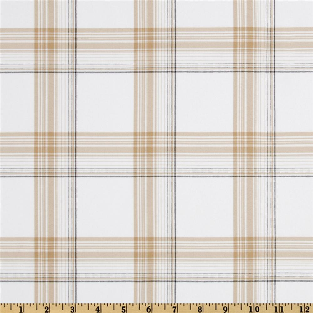 Yarn Dyed Polyester Suiting Plaid Plaid Tan/White/Black