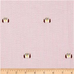 Embroidered Seersucker Pink/White Owl Tan