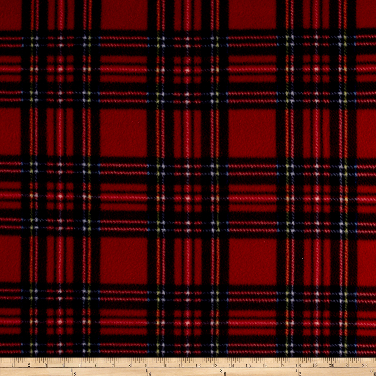 Image of Fleece Plaid Stewart Tartan Red Royal Fabric