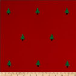 Kaufman Embroidered Corduroy 21 Wale Christmas Trees Red