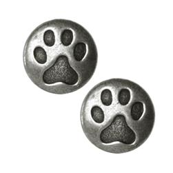 Novelty Button 3/4'' Cat Paw Antique Pewter