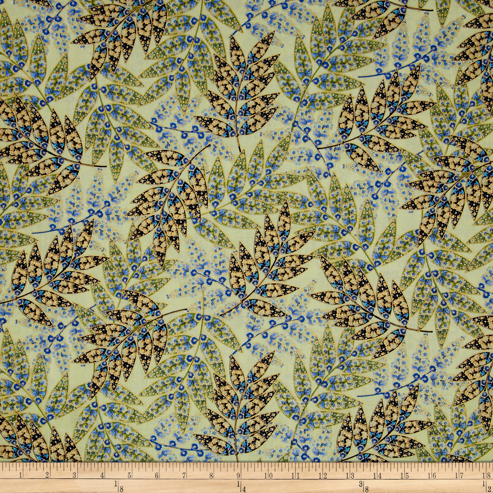 Imperial Gardens Metalic Imperial Fern Willow/Blue Fabric
