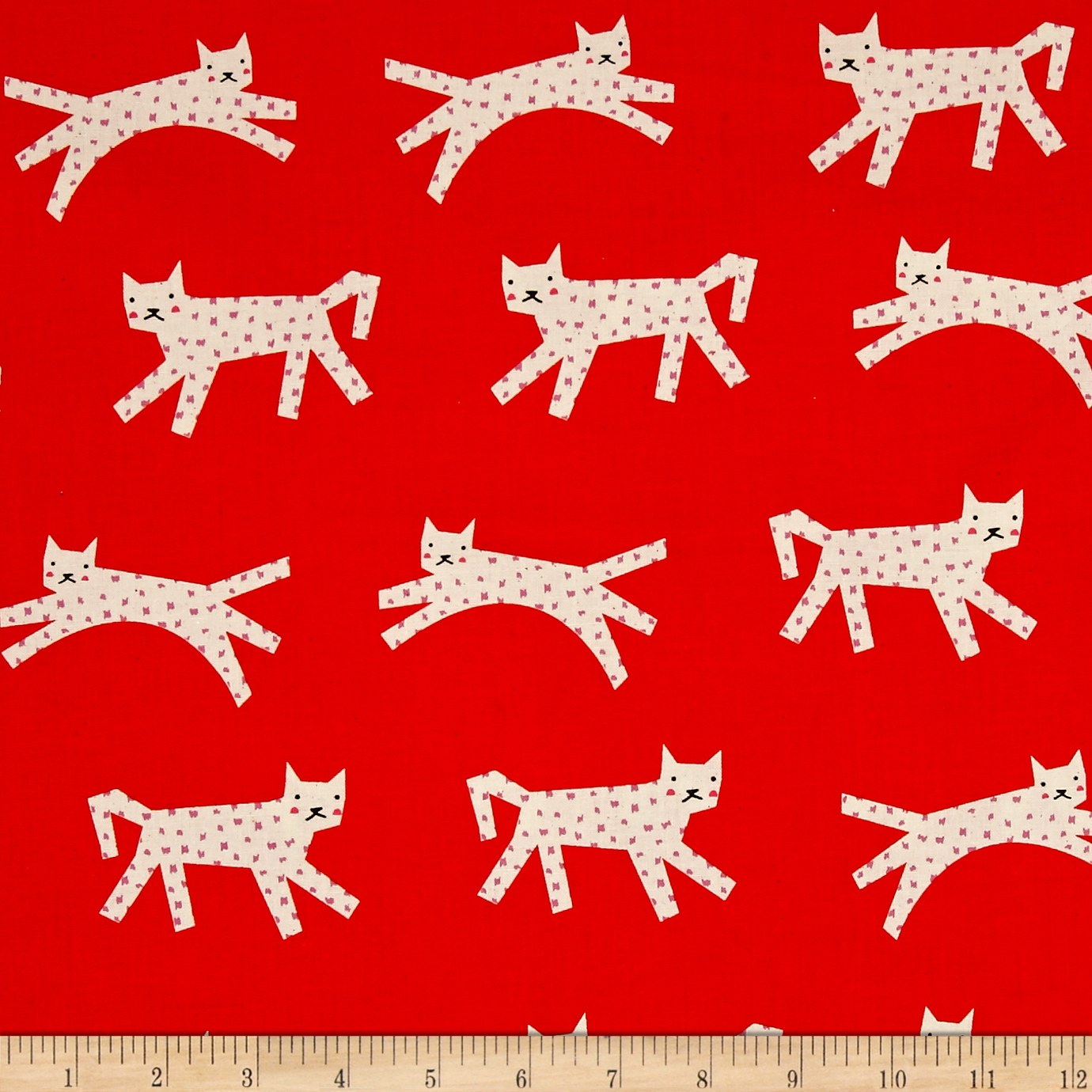 Cotton + Steel Noel Snow Leopard Red Fabric