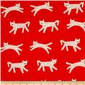 Cotton + Steel Noel Snow Leopard Red