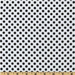 Flannel Polka Dots White/Black Fabric