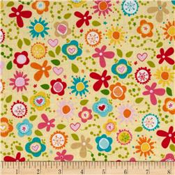 Riley Blake Summer Breeze Tossed Floral Yellow Fabric