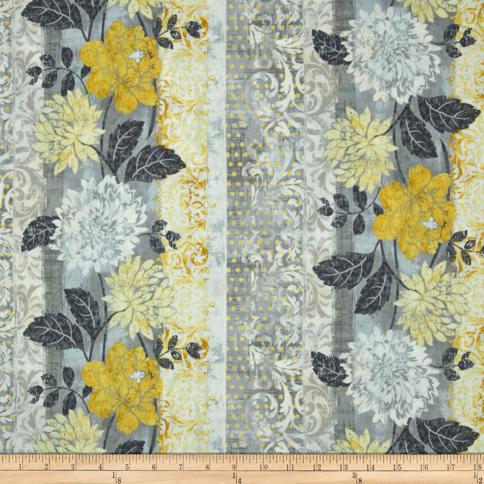 Timeless Treasures Ophelia Floral Border Stripe Grey Fabric