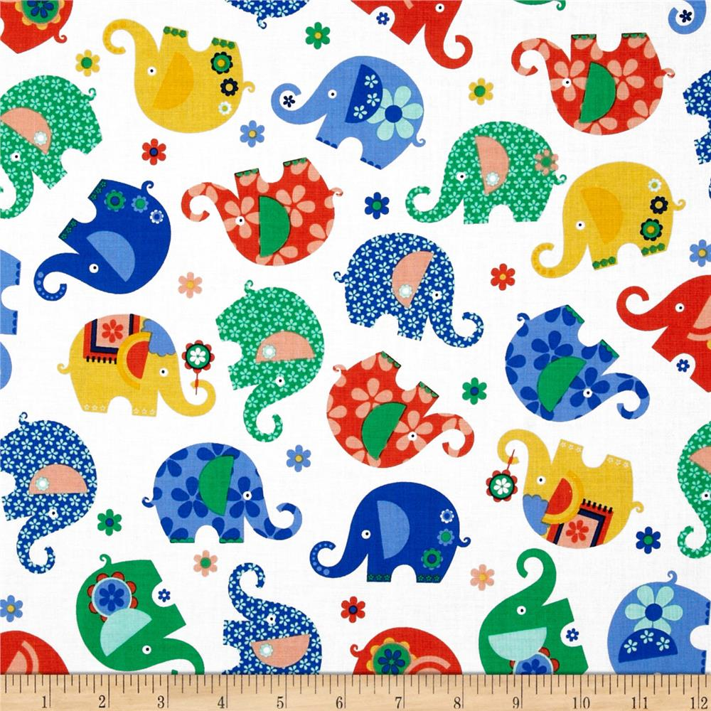 Michael Miller Elephants, Lions, & Monkeys Oh My Elephant Romp Primary