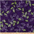 Royal Retro Outlined Leaves Purple
