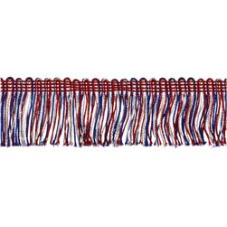 2'' Metallic Chainette Fringe Trim Red/White/Blue