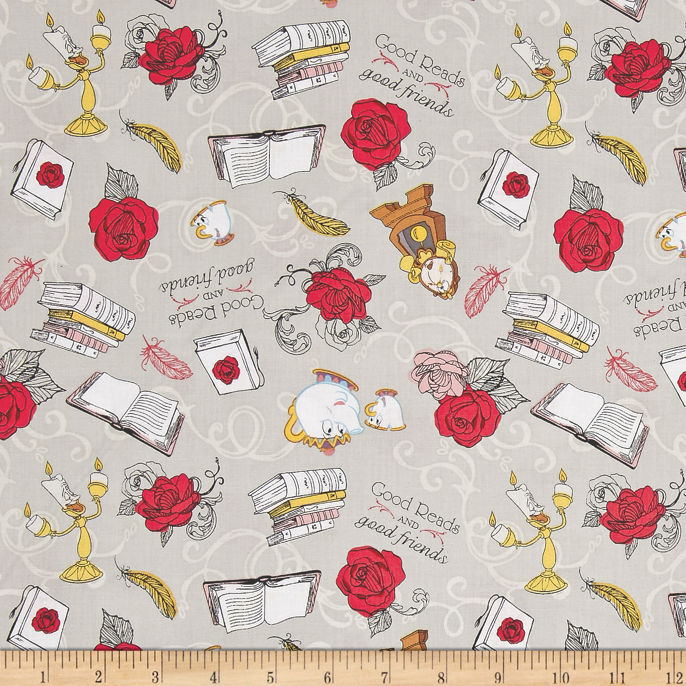 Disney Beauty and the Beast Friends Grey Fabric by Eugene in USA