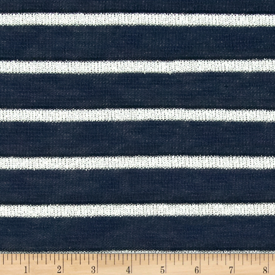 Stretch Sweater Knit Line Stripes Navy Fabric