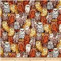 Autumn in the Forest Metallic Owls Stacked Brown/Gold