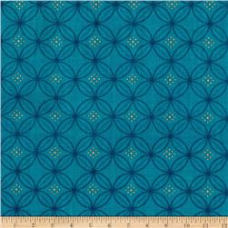 Tree of Life Metallic Eden Floral Circles Teal