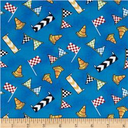 Race Day Flags & Cones Allover Blue