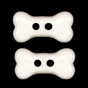 Novelty Button 3/4'' Dog Bone White