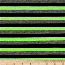 Yarn Dye Jersey Knit Stripe Neon Green/Black/Heather Gray