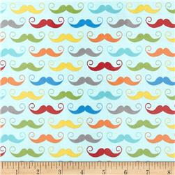 Riley Blake Geekly Chic Laminated Cotton Mustache Aqua